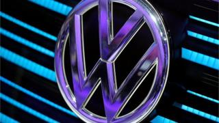 A Volkswagen logo is displayed during the Geneva Motor Show