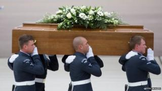 The coffin of John Stocker is taken from the RAF C-17 aircraft