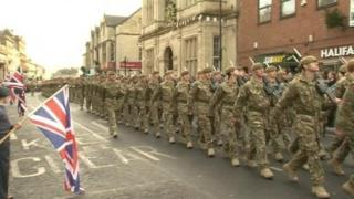 The 3rd Battalion the Yorkshire Regiment march through Warminster