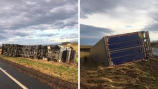 Overturned lorries