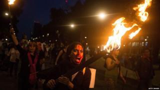 Protesta en la ciudad de México contra el gobierno de Enrique Peña Nieto