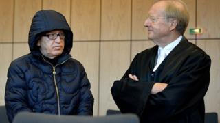 Werner Mauss and his lawyer on the first day of his trial on 26 September 2016