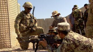 American troops training the Afghan Army 215th Corp in Helmand, Afghanistan, July 2016