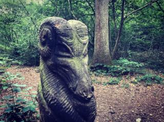The dragon sculpture in Magdalen Wood