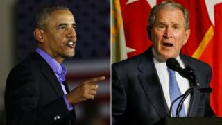 Barack Obama dan George W Bush