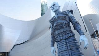 A statue of a white walker stands outside the Walt Disney Concert Hall in Las Vegas