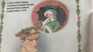 Christmas card sent by Thomas Young to his daughter Sarah in 1915