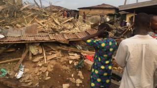 Di collapse happun for di Sogoye area of Ibadan