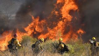 ماموران آتش نشانی در کنیون کانتری واقع در شمال لس آنجلس