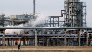 Oil-refining plant located in Belarus's town of Mozyr, some 300 km south-east of Minsk, is seen Tuesday, Jan. 9, 2006.