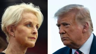 Cindy McCain, left, and Donald Trump, right