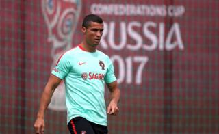 Portugal national team forward Cristiano Ronaldo takes part in a training session in Kazan on June 15, 2017