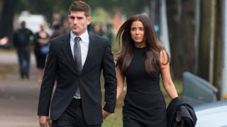 Ched Evans arriving at Cardiff Crown Court with his fiancee Natasha Massey