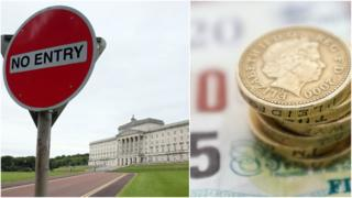 Composite image showing Stormont and pile of money