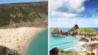 Porthcurno beach and Kynance Cove