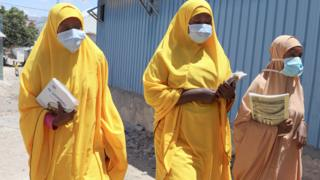 in_pictures Female students in face masks in Mogadishu, Somalia - Thursday 19 March 2020