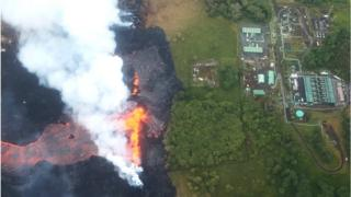 Aerial view of lava fissure near power plant