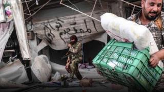 AFP haber ajansı, Afrin'deki yağmalamayı görüntüledi