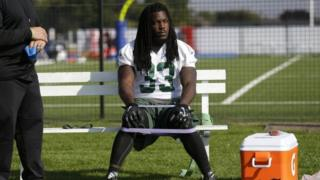 New York jets' running back Chris Ivory during training at London Irish ground in south west London