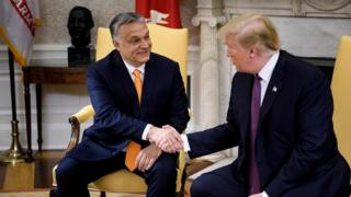 US President Donald Trump shakes hands with Hungarian Prime Minister Viktor Orban during a meeting in the White House