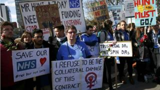 """Junior doctors and supporters hold placards during a strike outside St Thomas"""" Hospital, April 2016"""