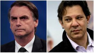 Jair Bolsonaro e Fernando Haddad, candidatos à Presidência do Brasil nas eleições 2018