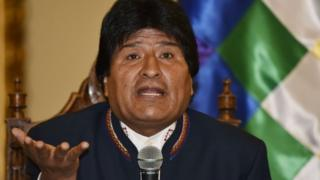 Evo Morales at a news conference, 24 Feb 16