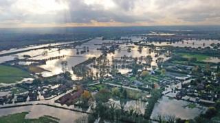 Flood water at Fishlake, Doncaster
