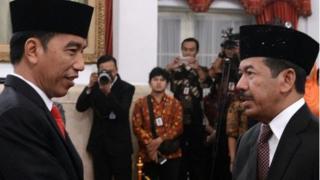 Pelantikan Ketua Badan Siber dan Sandi Negara (BSSN) Mayjen TNI Purn Djoko Setiadi di Istana Kepresidenan, Rabu (3/1).