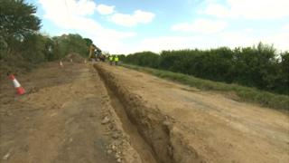 Image of the road that collapsed due to badger setts and tunnels under neath.