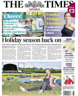 Times front page - 27/06/20
