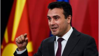 Macedonian Prime Minister Zoran Zaev gives a press conference in Skopje on 19 October 2019