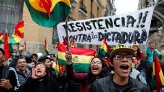 Protesters in La Paz, Bolivia, on Saturday 9 November