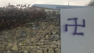The graffiti appeared on a wall near Headington Quarry Pavilion community centre