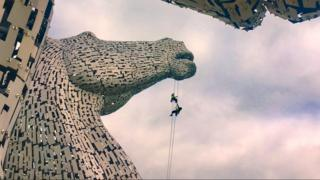 Rope Access Technicians on The Kelpies