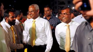 Solih and Nasheed at campaign rally