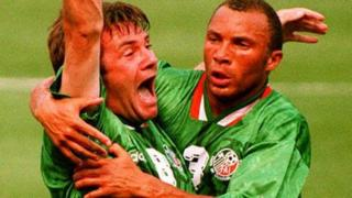 Ray Houghton scores against Italy in the 1994 World Cup