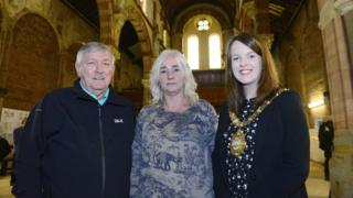 Patrick Benson, Terry McKeown and the Lord Mayor of Belfast, Nuala McAllister