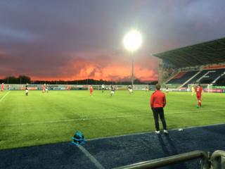 Sunset over Falkirk stadium