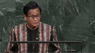 Henry Van Thio, Vice President of Myanmar, addresses the United Nations General Assembly at UN headquarters, 20 September 2017 in New York City.