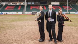 Neil Shewan, John Hall and Emilie Godden from the BBC National Orchestra of Wales in Colwyn Bay