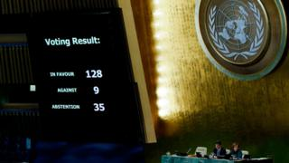 Results of vote shown on the board at a meeting of the UN General Assembly in New York, on 21 December 2017