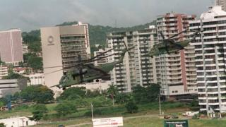 US army helicopters patrol Panama City during Operation Just Cause on 29 December, 1989.