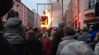 An effigy of Lt Col Robert Lundy, known as Lundy the Traitor, was burned at the event