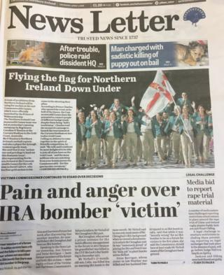 front page of the News Letter Thursday 5th April 2018