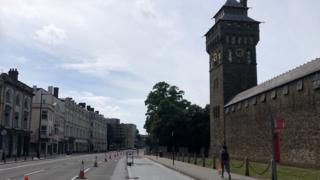 Pedestrian and cycle lane added to Castle Street, Cardiff