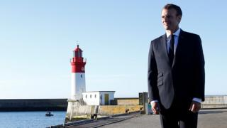French President Emmanuel Macron visits the port in Le Guilvinec, France, June 21, 2018.