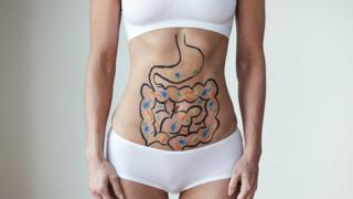 Imagem mostra ilustração de intestino desenhada na barriga de uma mulher