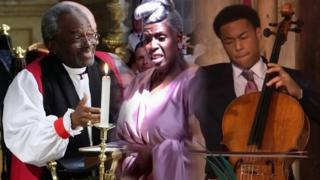 The Most Rev Bishop Michael Curry, choir conductor Karen Gibson and cellist Sheku Kanneh-Mason