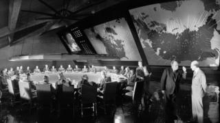 Filming on the set of Dr Strangelove or: How I Learned to Stop Worrying and Love the Bomb on 14 March 1963